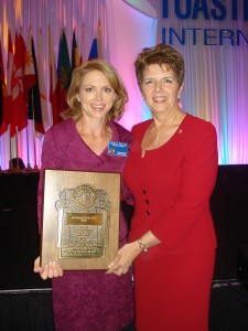 Rochelle Rice with Pat Johnson, International President of Toastmasters International